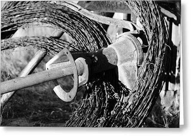 3 Rolls Of Barbed Wire-001 Greeting Card by David Allen Pierson