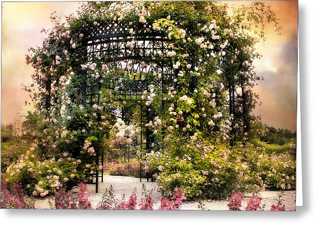 Rose Garden Pergola Greeting Card by Jessica Jenney