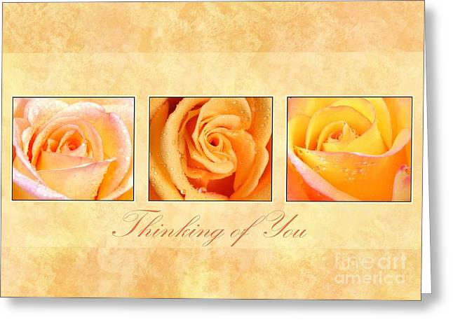 Greeting Card featuring the digital art 3 Rose Thinking Of You by JH Designs