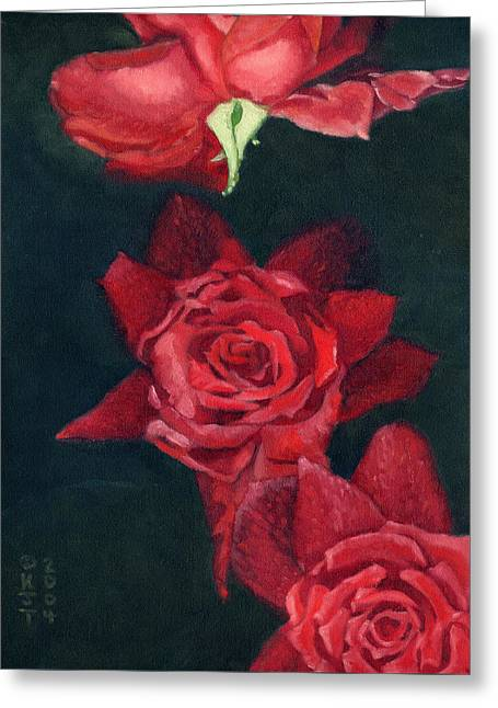 3 Roses Red Greeting Card