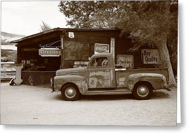 Route 66 Garage And Pickup Greeting Card by Frank Romeo