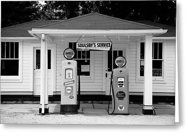 Route 66 - Soulsby Station Pumps Greeting Card by Frank Romeo