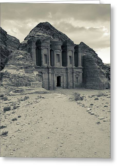 Ruins Of Ad Deir Monastery At Ancient Greeting Card