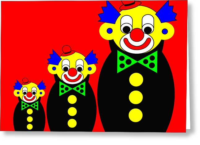 3 Russian Clown Dolls On Red Greeting Card by Asbjorn Lonvig
