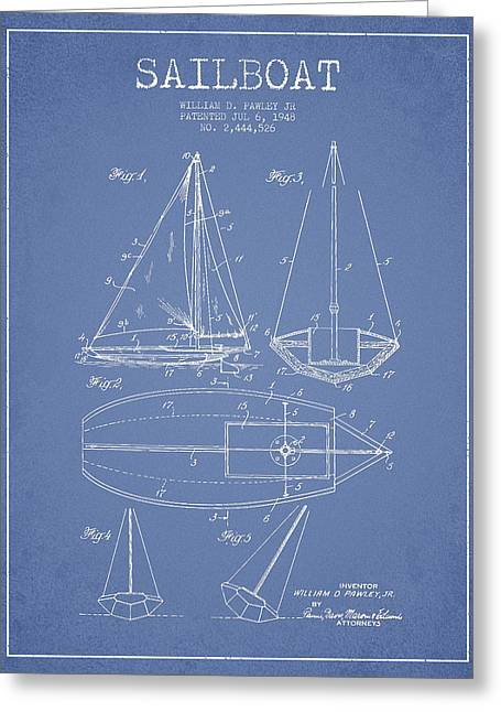 Sailboat Patent Drawing From 1948 Greeting Card