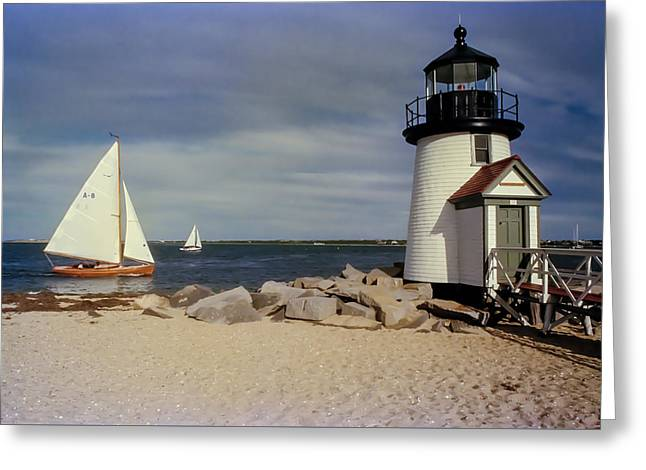 Sailing Across Brant Point Nantucket Greeting Card