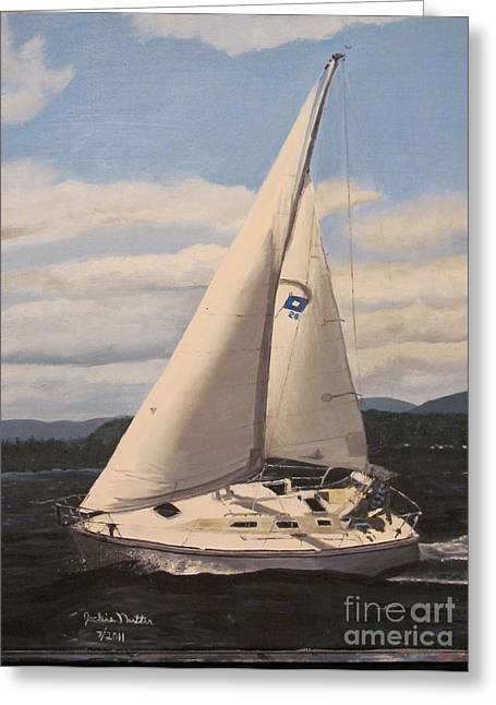 Sailing Winni Greeting Card by Jackie Nutter