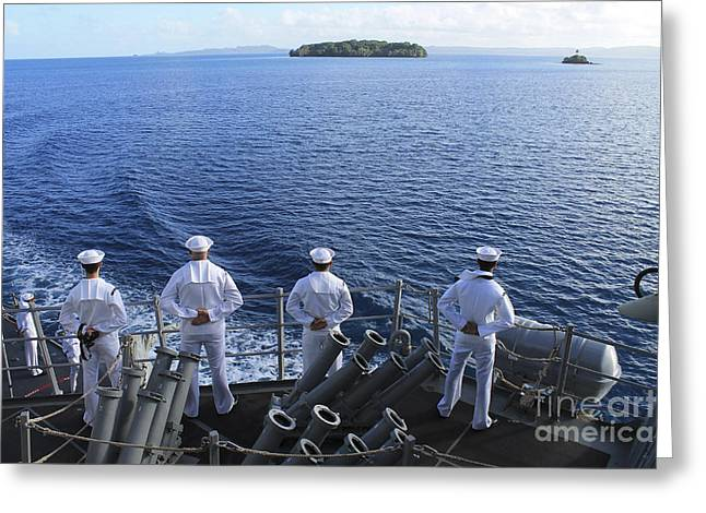 Sailors Man The Rails Aboard Greeting Card by Stocktrek Images