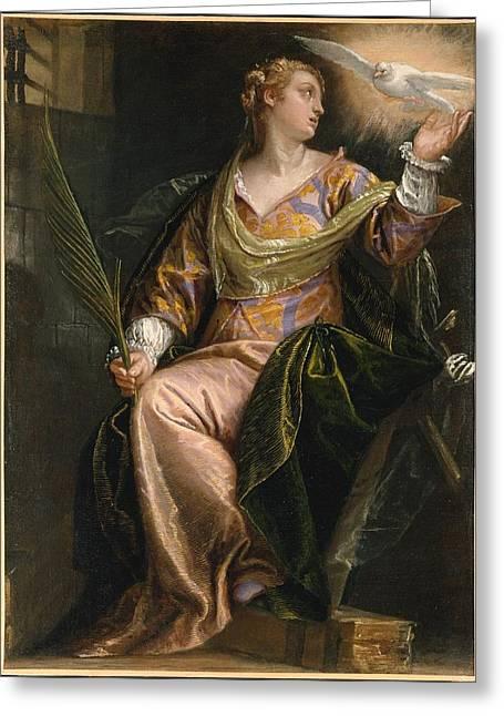 Saint Catherine Of Alexandria In Prison Greeting Card