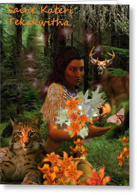 Greeting Card featuring the painting Saint Kateri by Suzanne Silvir