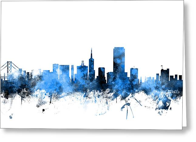 San Francisco City Skyline Greeting Card by Michael Tompsett