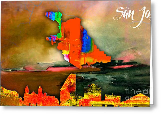 San Jose Map And Skyline Greeting Card by Marvin Blaine