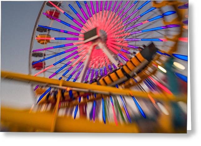 Santa Monica Pier Ferris Wheel And Roller Coaster At Dusk Greeting Card