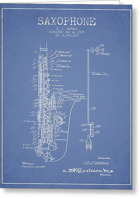 Saxophone Patent Drawing From 1928 Greeting Card by Aged Pixel