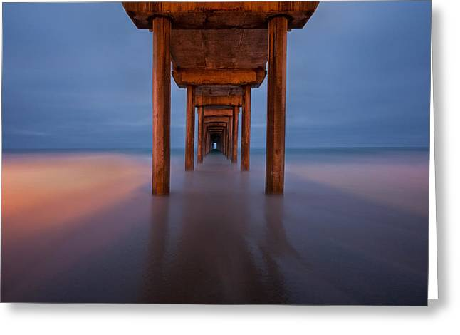 Scripps Pier Dusk Greeting Card by Peter Tellone