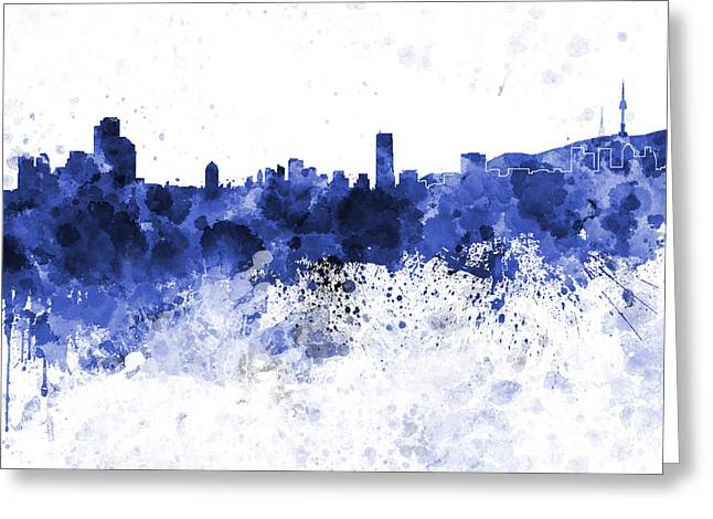 Seoul Skyline In White Background Greeting Card by Pablo Romero