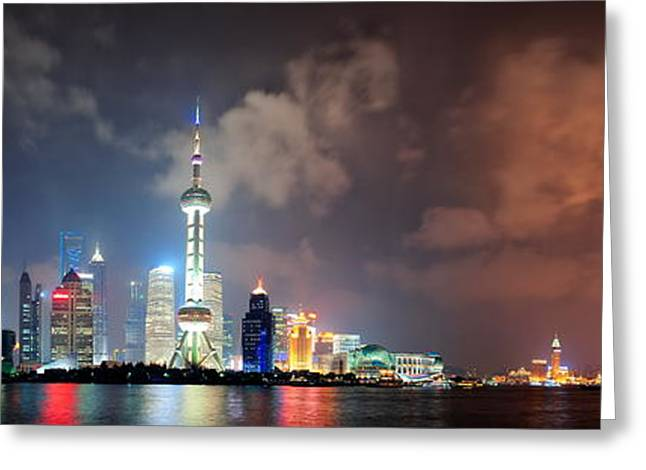 Shanghai Skyline At Night Greeting Card