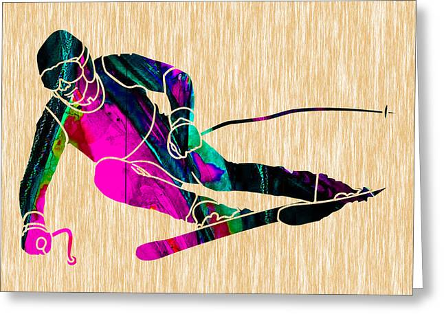 Skier Painting Greeting Card