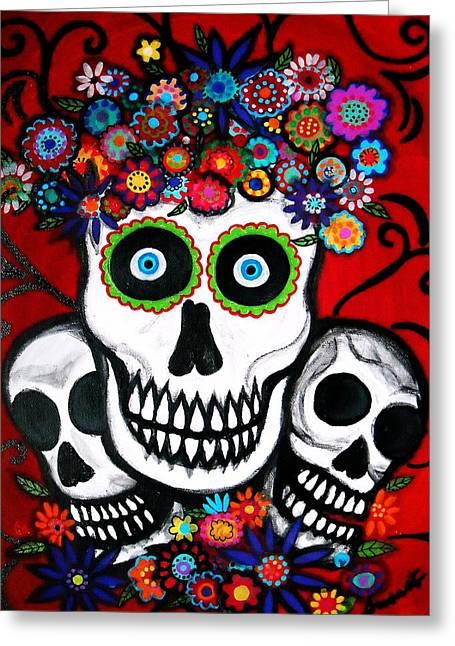 Greeting Card featuring the painting 3 Skulls by Pristine Cartera Turkus