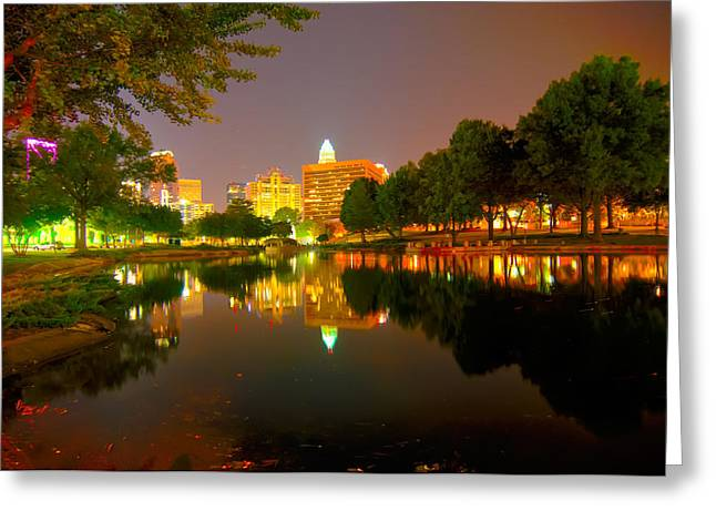 Greeting Card featuring the photograph Skyline Of Uptown Charlotte North Carolina At Night by Alex Grichenko