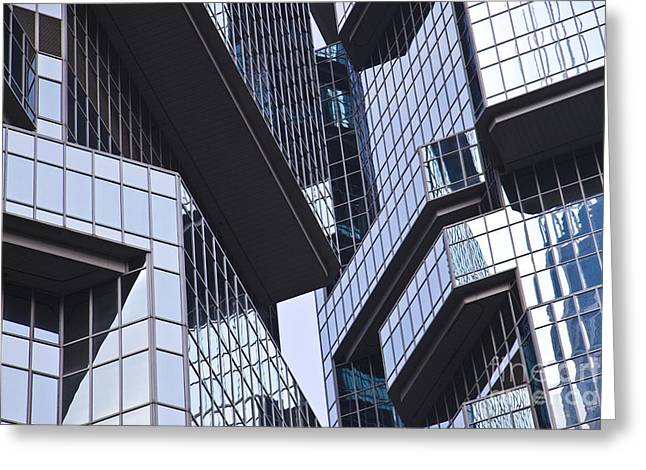 Skyscraper Windows Background Greeting Card by IB Photography