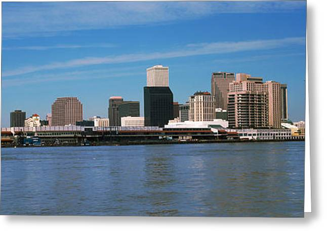 Skyscrapers At The Waterfront, River Greeting Card by Panoramic Images