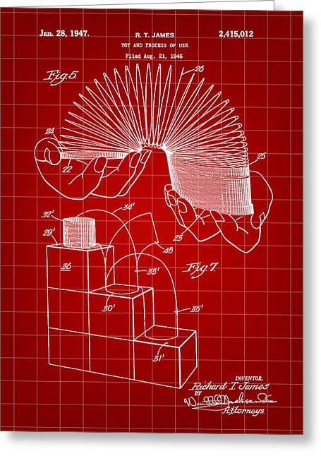 Slinky Patent 1946 - Red Greeting Card