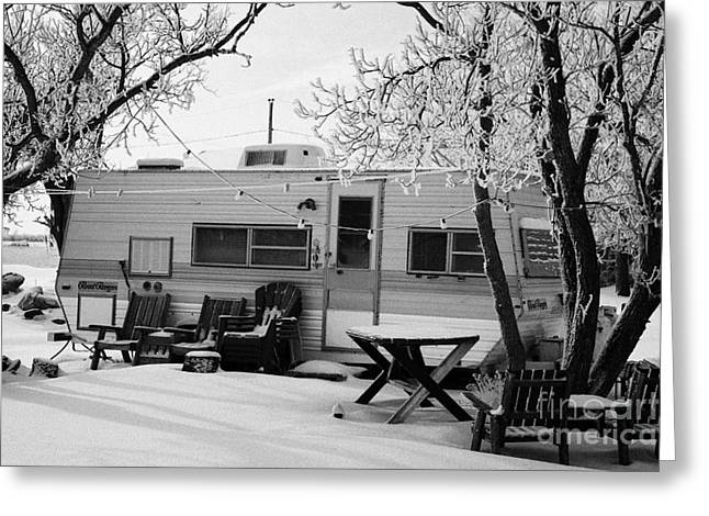 small trailer mobile home covered in snow in rural village of Forget Saskatchewan Canada Greeting Card by Joe Fox
