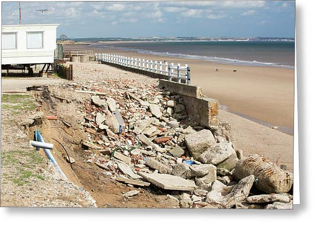 Smashed Concrete Sea Defences Greeting Card by Ashley Cooper
