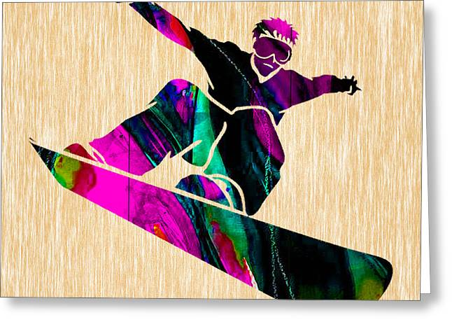 Snowboarding Greeting Card by Marvin Blaine