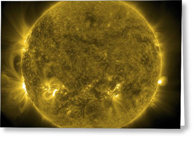Solar Activity, Sdo Ultraviolet Image Greeting Card by Science Photo Library