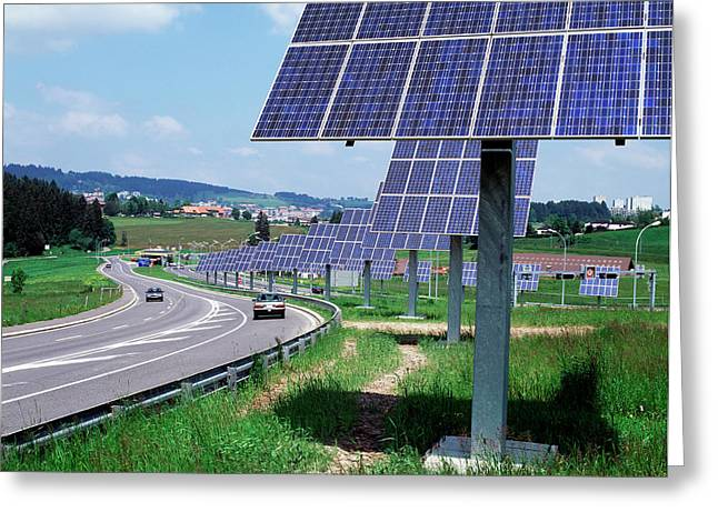 Solar Panels Greeting Card by Martin Bond/science Photo Library