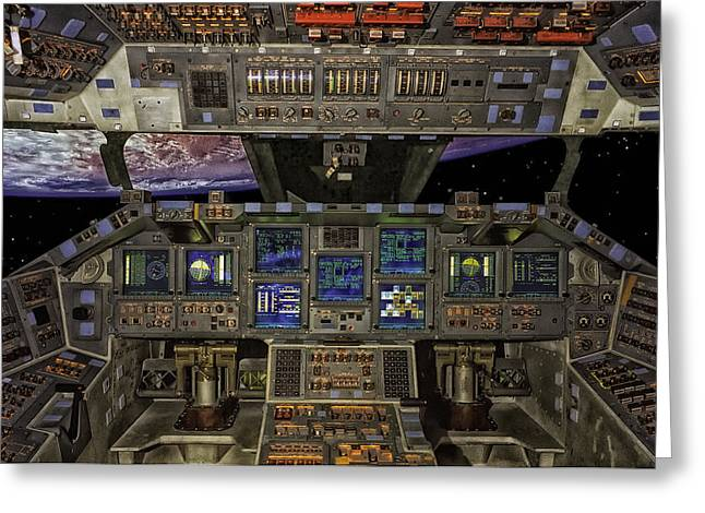 Space Shuttle Cockpit Greeting Card by Mountain Dreams