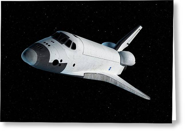 Space Shuttle In Space Greeting Card