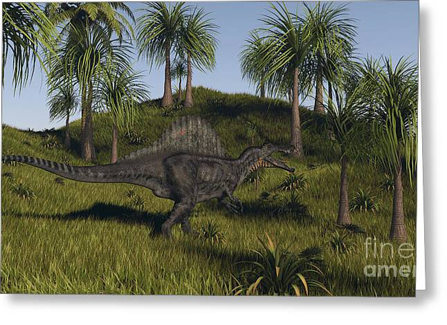 Spinosaurus Hunting In An Open Field Greeting Card by Kostyantyn Ivanyshen