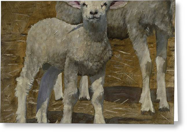 Greeting Card featuring the painting Spring Lamb by John Reynolds