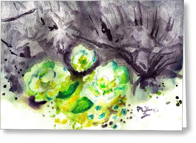 Spring Monochrome Greeting Card by Peg Holmes