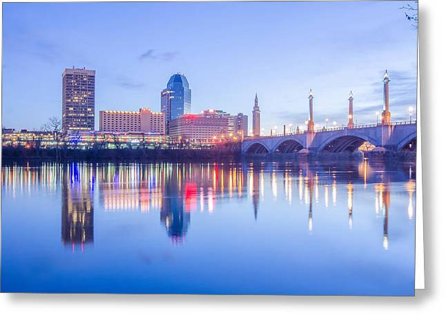 Springfield Massachusetts City Skyline Early Morning Greeting Card