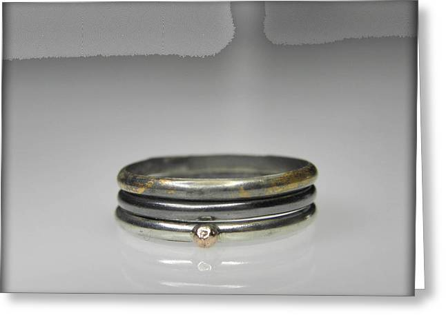 3 Stacking Silver Rings With 14k And 24k Gold Greeting Card by Vesna Kolobaric