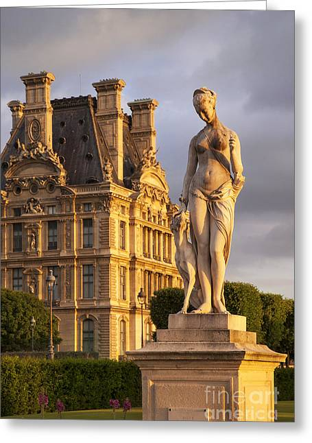 Statue Below Musee Du Louvre Greeting Card by Brian Jannsen