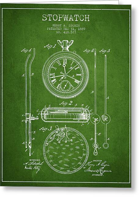 Stopwatch Patent Drawing From 1889 Greeting Card