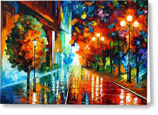 Street Of Hope Greeting Card by Leonid Afremov