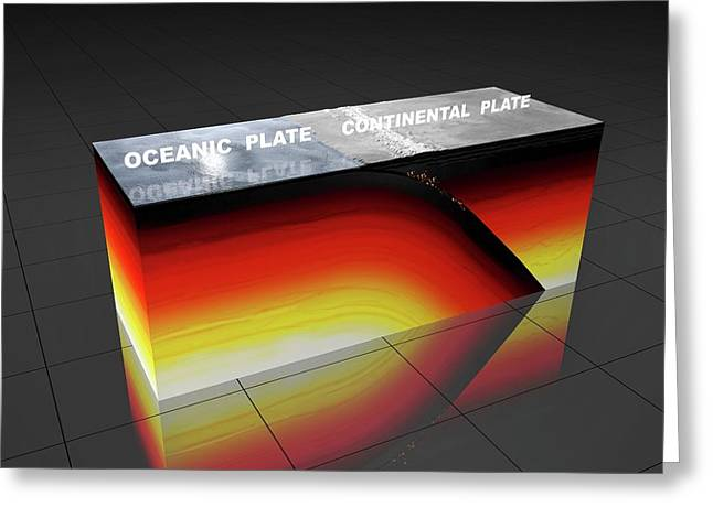Subduction Zone Greeting Card by Peter Matulavich
