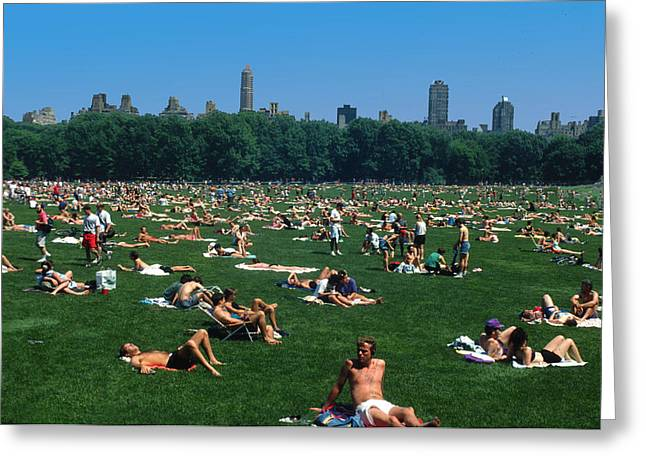Topless In Central Park On Sunday Greeting Card by Carl Purcell
