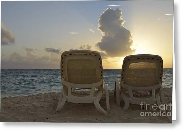 Sun Lounger On Tropical Beach Greeting Card by Sami Sarkis