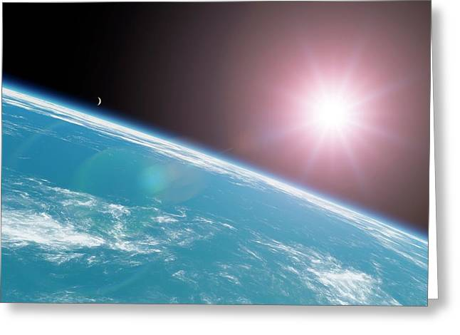 Sun Over The Earth Greeting Card