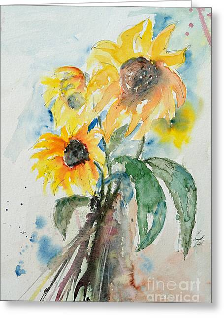 Sunflowers Greeting Card by Ismeta Gruenwald