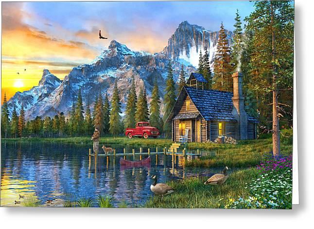 Sunset At Log Cabin Greeting Card