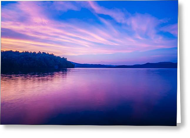 Sunset During Blue Hour At The Lake Greeting Card