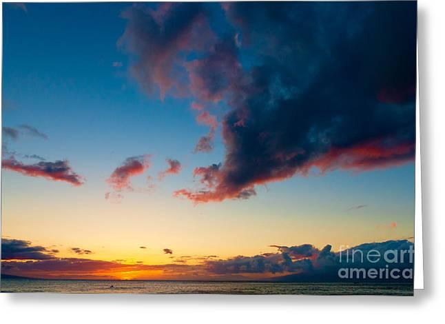 Sunset On Kaanapali Maui Hawaii Usa Greeting Card